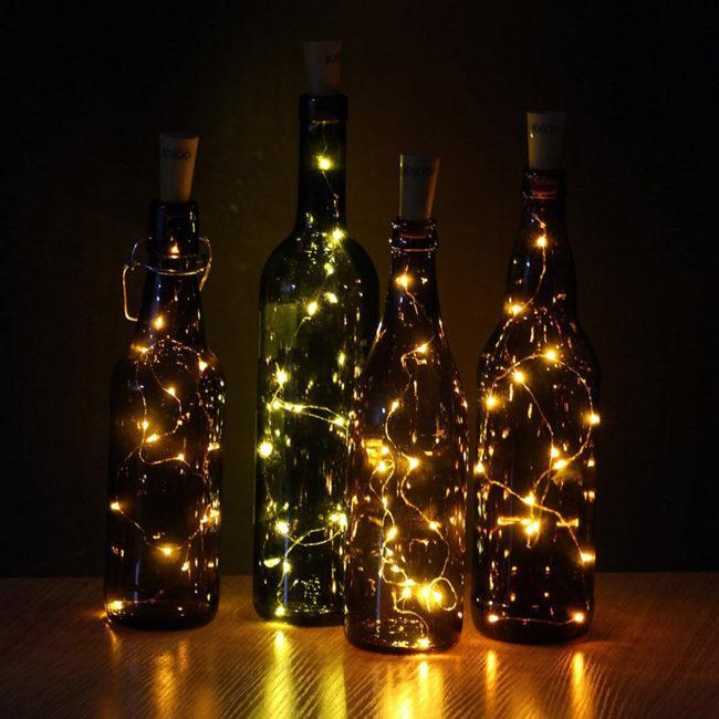 гирлянда в бутылках