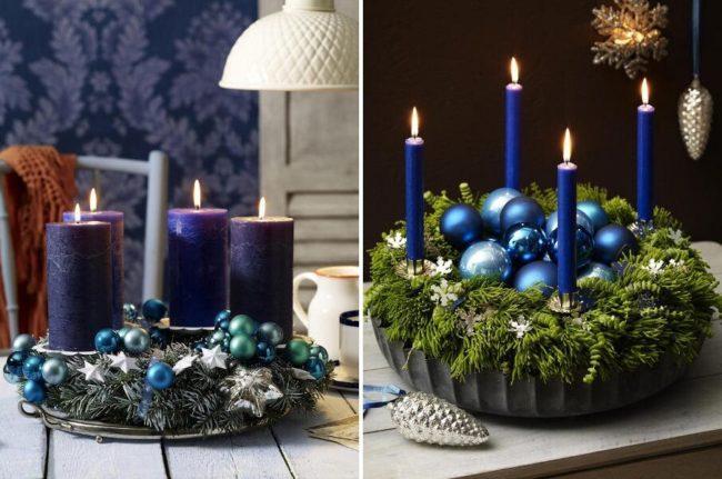свечи и новогодние шары