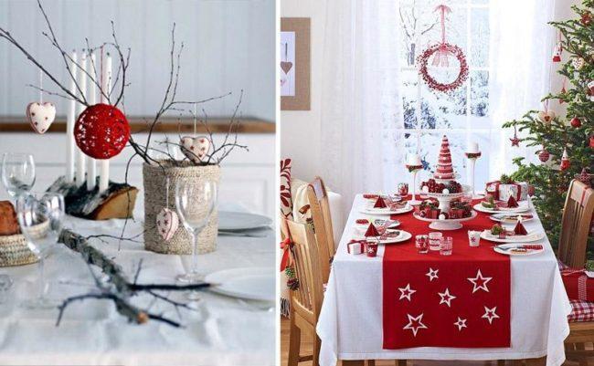 сервировка новогоднего стола на кухне