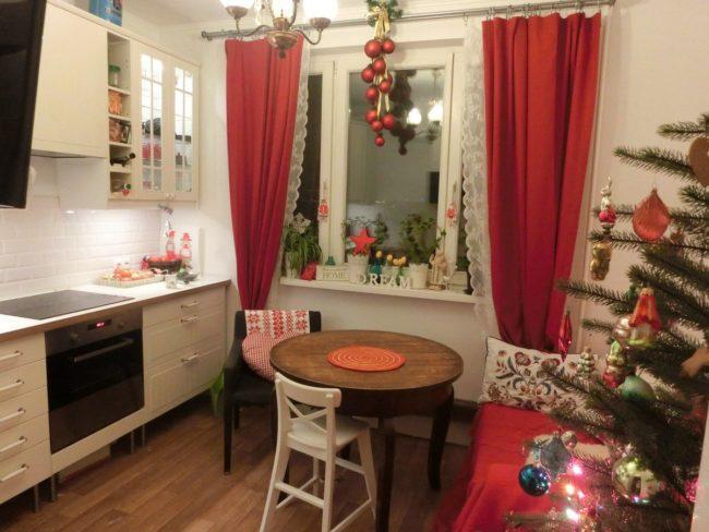 новогодний интерьер кухни