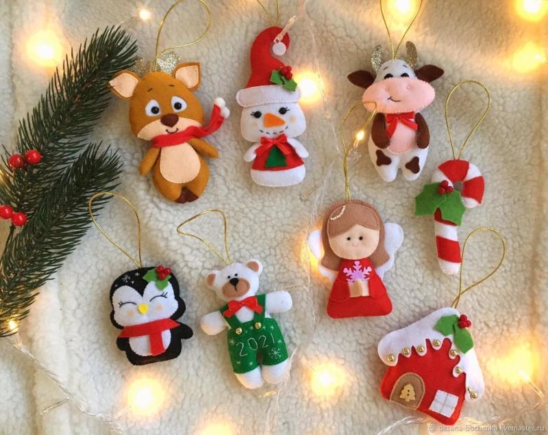 Новогодние поделки и игрушки из фетра