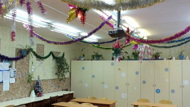раздевалка в школе на Новый год