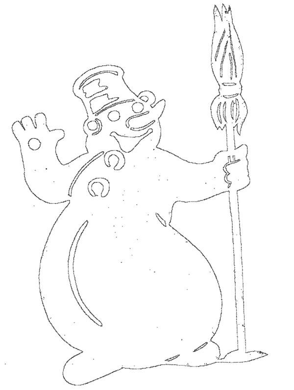 Снеговик трафареты-вытынанки для вырезания на окно