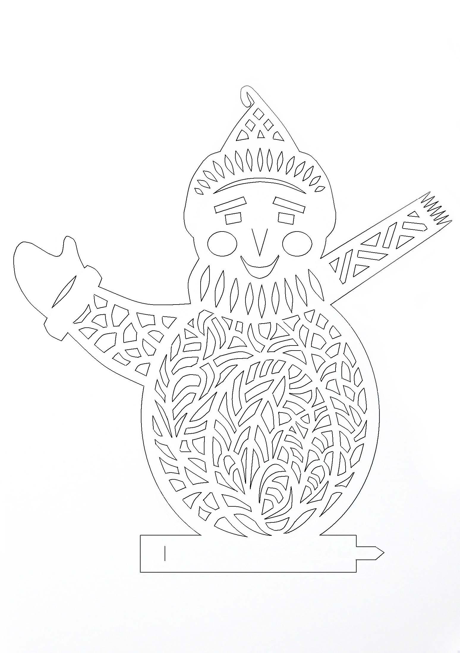Снеговик трафареты-вытынанки для вырезания на окно изоражения
