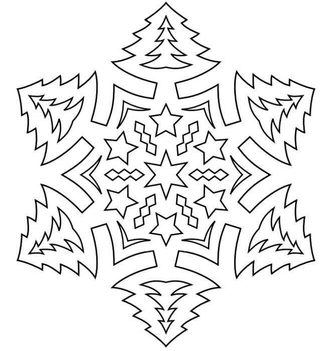 Трафарет снежинок на новый год для вырезания