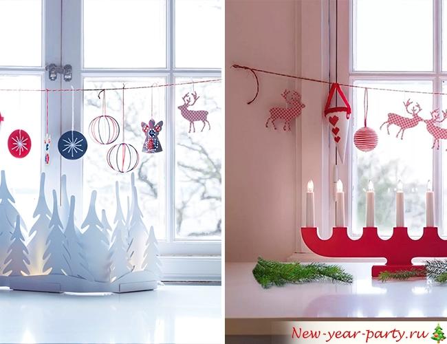 Герлянды на окне к новому году
