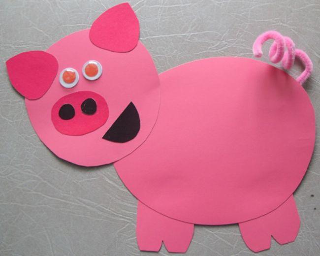 Детская поделка свинья