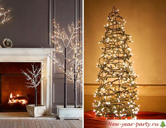 Искусственная елка с огоньками