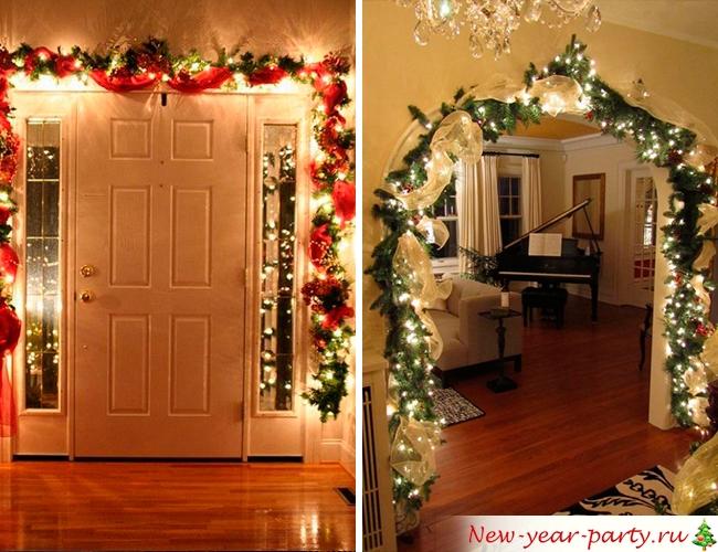Дверь и арка в новогодних гирляндах