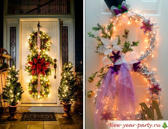 Новогодние венки с огнями