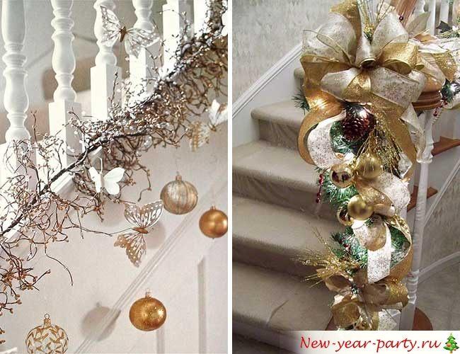 Декор на Новый год в белом и золотом