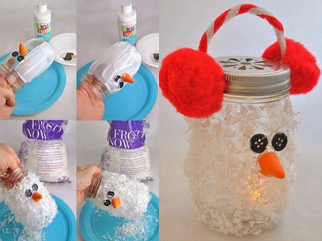Снеговичок-подсвечник на новый год