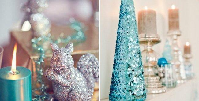 Голубой с серебром новогодний декор