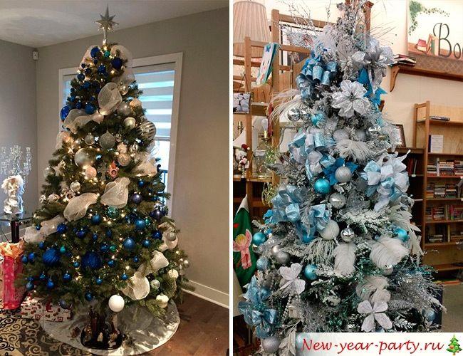 Синий и голубой цвет елочных украшений
