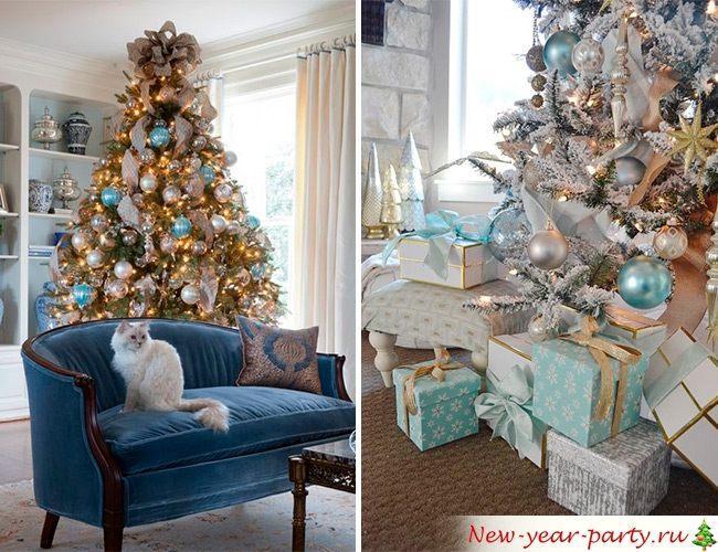 Сине-голубое оформление комнаты на Новый год