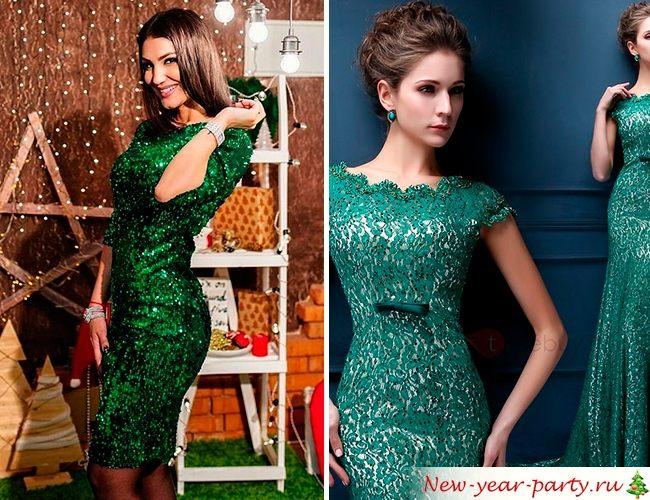Зеленая расцветка новогодних платьев