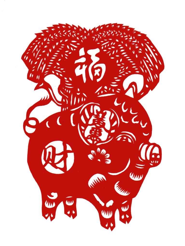 Вытынанки Свинья и Кабан на Новый год 2019: шаблоны на окна