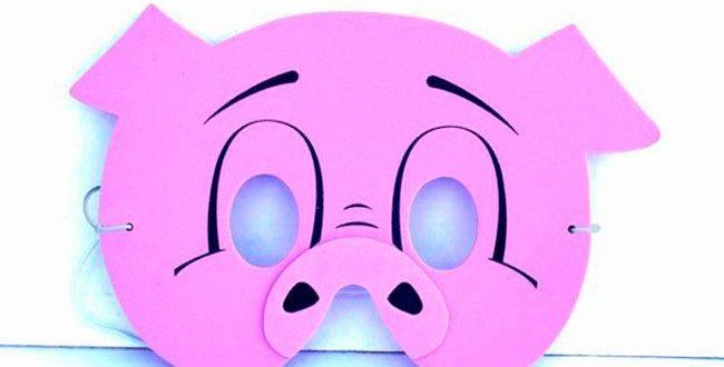 Маска свиньи для вырезания