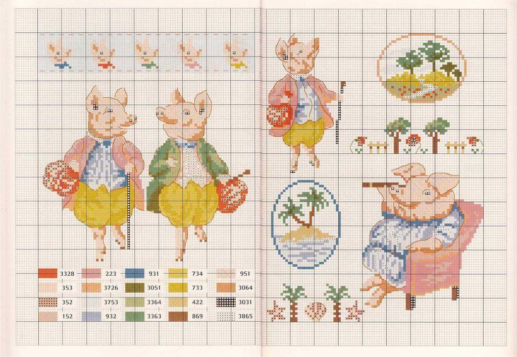 Схема вышивки Свиньи крючком