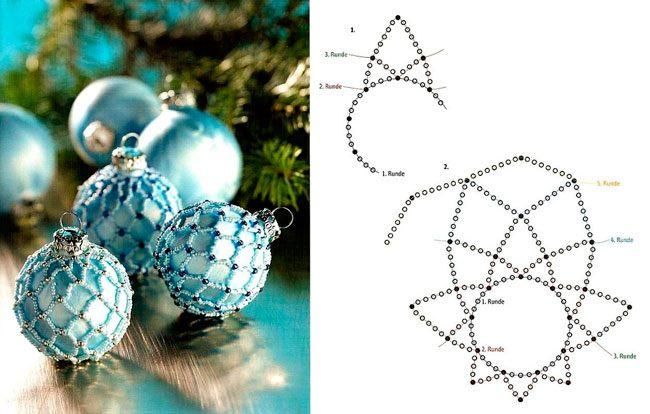 Как пошагово украсить шар бисером