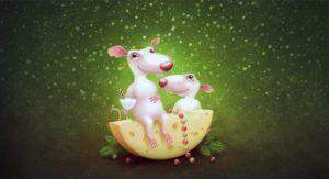 Рисунок веселые мышки на сыре