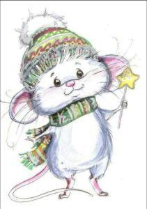 Рисунок новогодняя мышка