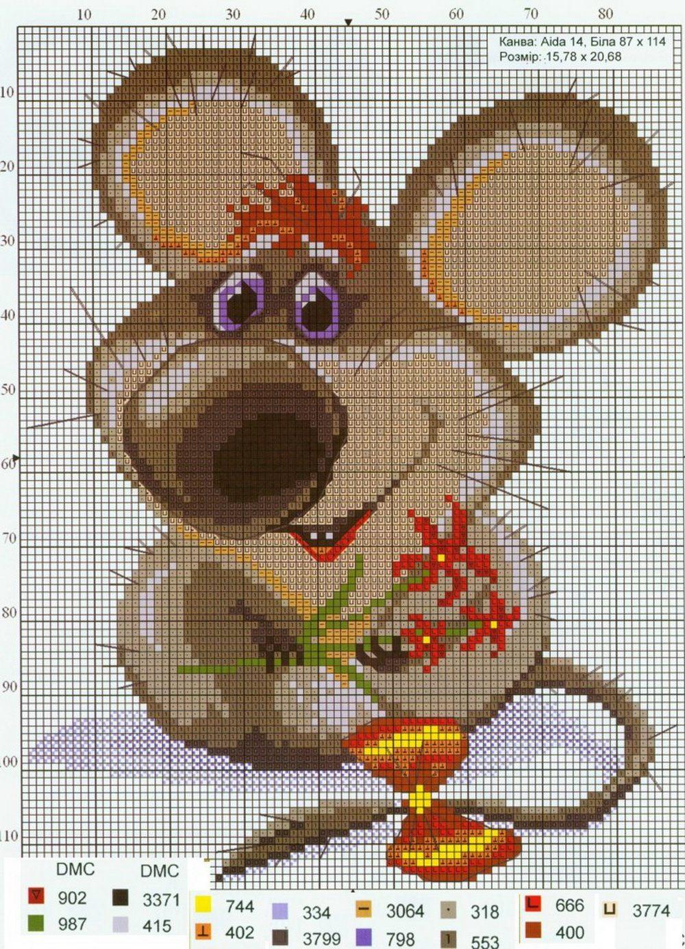 Схема вышивания мыши