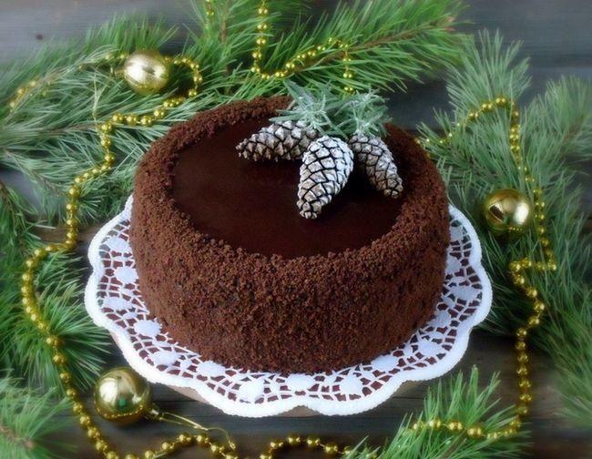 Шоколадный десерт на новогодний стол