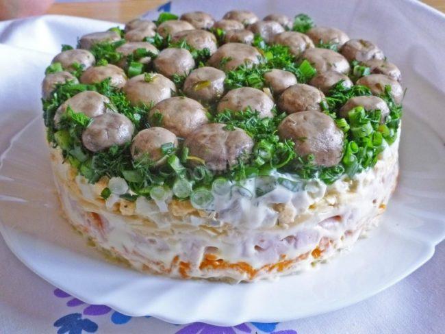 Салаты с грибами на Новый год