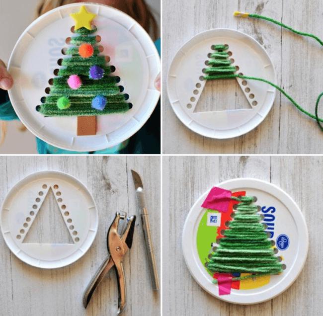 новогодняя елка из ниток и бумажной тарелки
