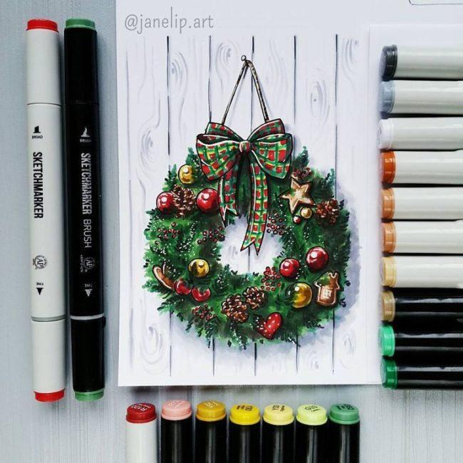 рождественский венок маркерами