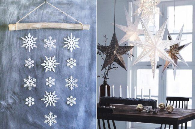 новогодоний декор снежинками
