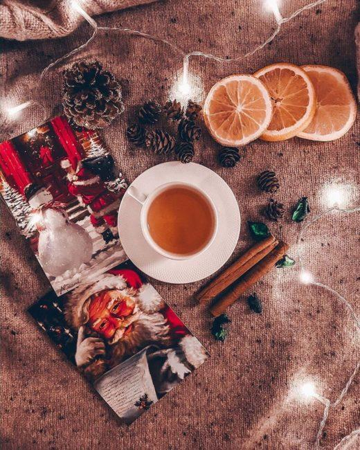 мандарины и чай