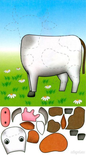 шаблон аппликации Быка, коровы для детского сада