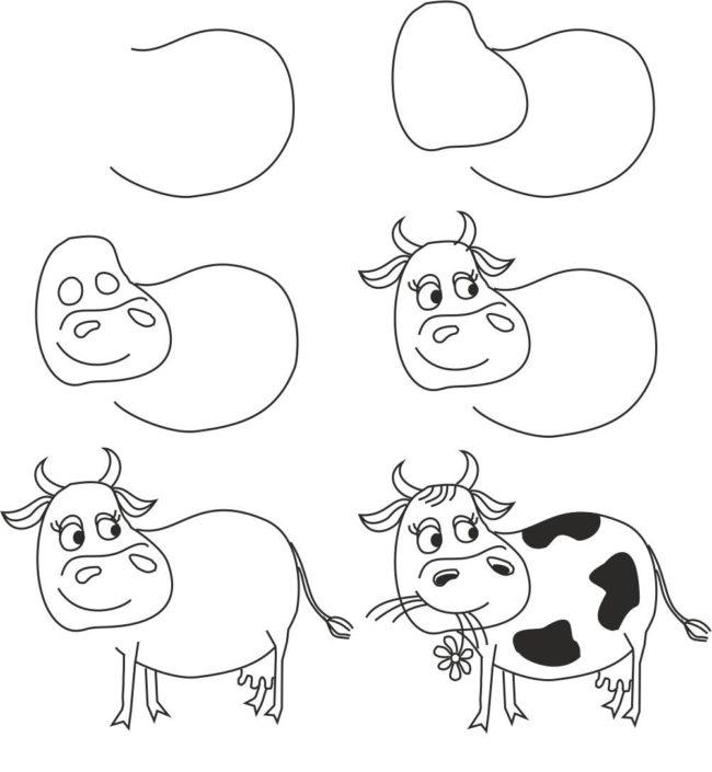 пошаговый рисунок быка