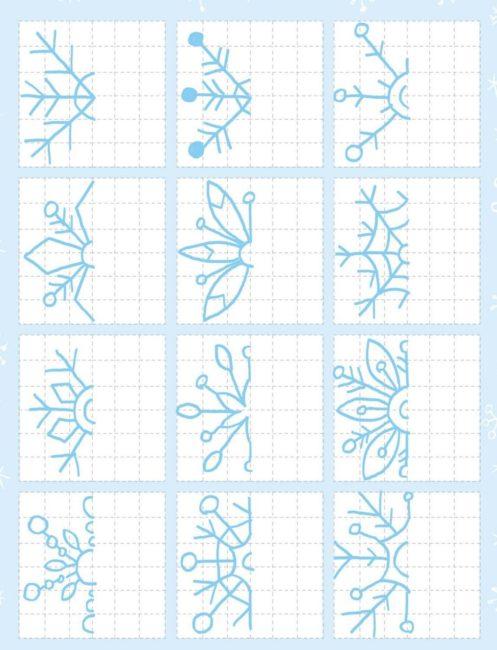 супер схема для снежинки по клеточкам