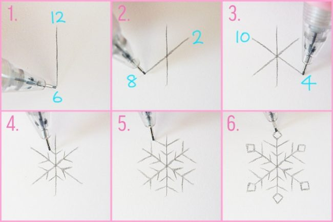 нарисовать снежинку карандашом поэтапно