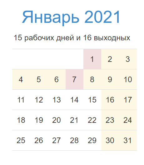 календарь январь 2021