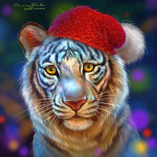 открытка с тигренком