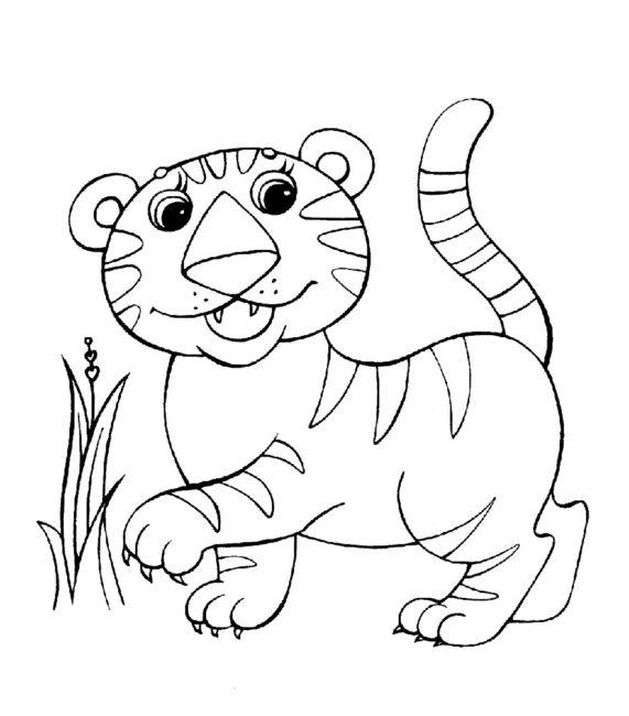 скачать бесплатные раскраски Тигра для ребенка