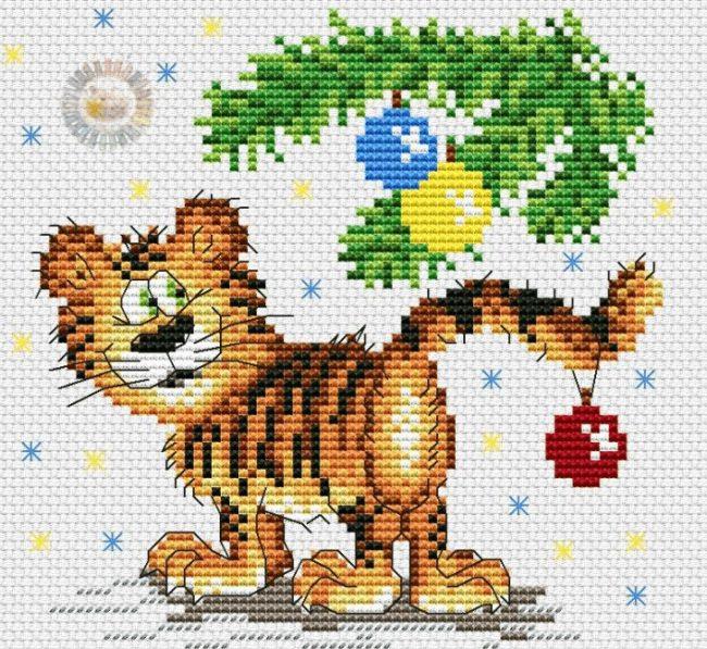 новогодний тигр крестиком