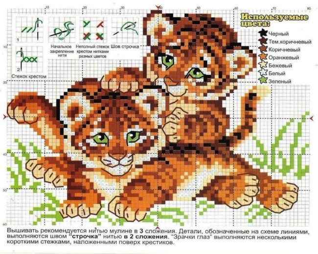 схема вышивки Тигра Крестом