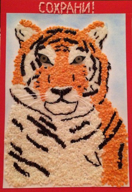 красивая аппликация Тигра для детского сада