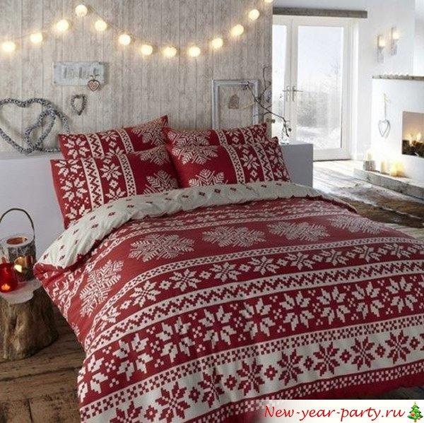 Как украсить спальню на Новый год