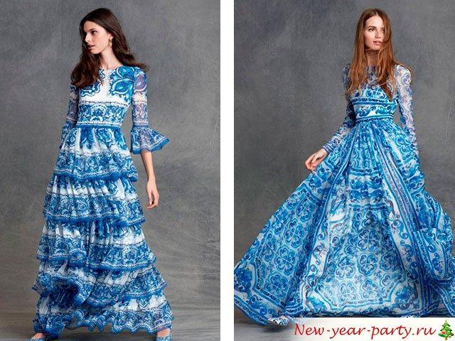 Дизайнерское платье синего цвета