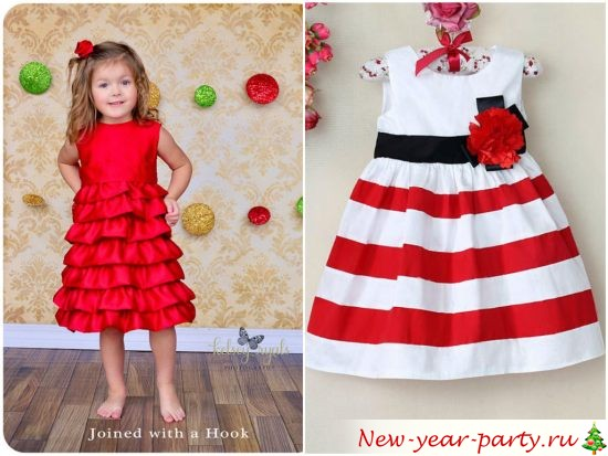Тенденции детской мировой моды предлагают следующие решения: платья для девочек должны быть с пышной юбкой длиной макси либо по середину голени. Новогодние