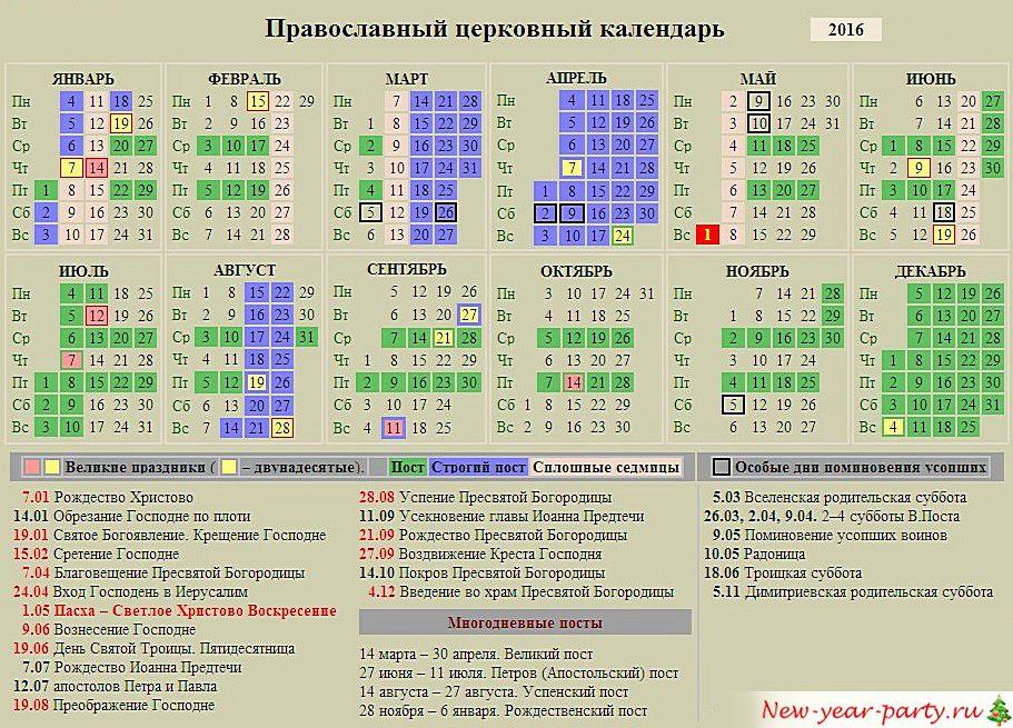 Церковный православный календарь 2016