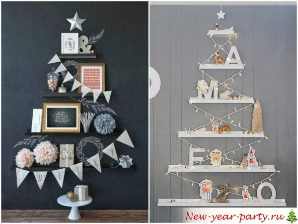 полочки в виде новогоднего дерева