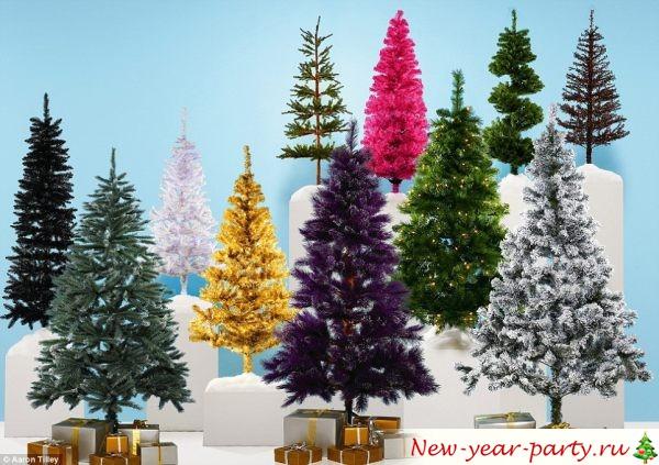 цветные искусственные елки