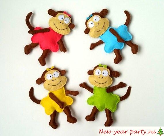 Новогодняя обезьянка на елку своими руками